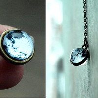 Tiny moon necklace pendant Solar system Galaxy Space Full moon Glass dome brass necklace Antique brass necklace Planet necklace Glass moon