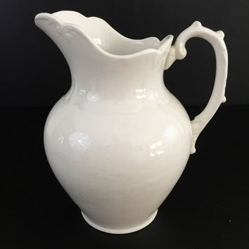 Antique large white ceramic water pitcher E.L.P. Co. Waco china 1880's 1890's