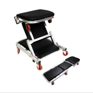 "41"" 2 In 1 Foldable Mechanics Z Creeper Seat Rolling Chair Garage Work Stool New"