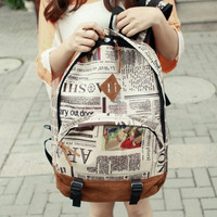 New Fashion Unisex Newspaper Design Print Backpack Schoolbag Shoulder Bag  12579 = 1745561092