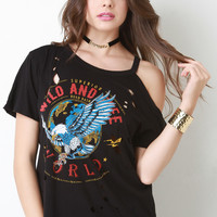 Wild and Free Graphic Distressed Tee