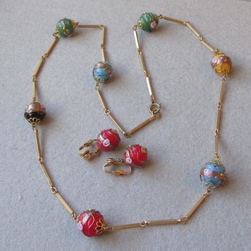 Vintage Multi-Color BIG Venetian Art Glass Wedding Cake Bead & Gold Tone Link Chain Necklace & Earrings Set