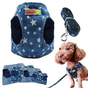 Denim Dog Harness Vest And Leash Fashion Puppy