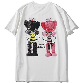 DIOR 2019 new back double doll doll big bee letter print short-sleeved T-shirt white