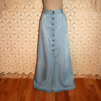 Chambray Denim Maxi Skirt Long Denim Skirt Button Up High Waist Western Boho Holding Horses Anthropologie Size 8/10 Medium Womens Clothing
