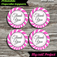 """Thank you - Cupcake toppers - Pink - Instant Download - Party printable - Party favor - Candy Bar - 5 cm / 2"""""""