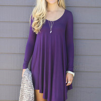 Purple Asymmetrical Long Sleeve Loose Mini Dress