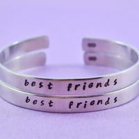 best friends - Hand Stamped Aluminum Cuff Bracelets Set, Handwritten Font, Forever Love, Friendship, BFF