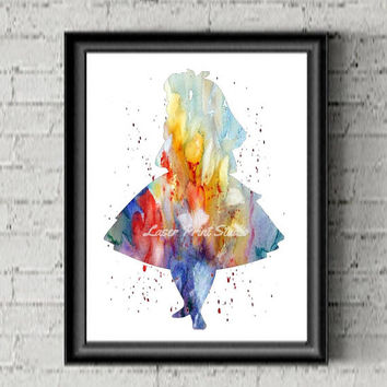 Alice In Wonderland Decor Watercolor Art Print Playroom Poster Kids Room Decor Disney Nursery Kid's Gift Girl Nursery