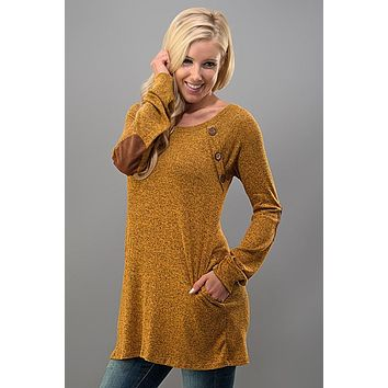 Tunic Top with Button Detail  - Mustard