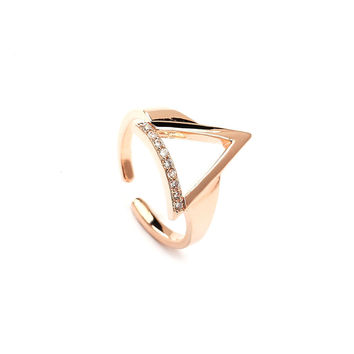 Geometric Elegance Rose Gold Plated Rings