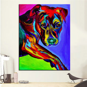 Large size Print Oil Painting pit bull gaze Wall painting Home Decorative Wall Art Picture For Living Room paintng No Frame