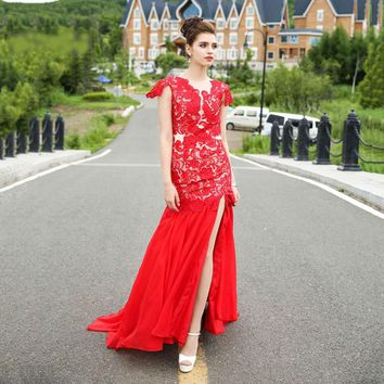 Red Chiffon Lace Cap sleeve Split Mermaid Dress Elegant Formal Dresses