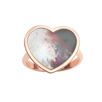 14k Rose Gold Heart Mother Of Pearl Ring, Size 7