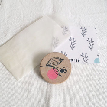 hand painted brooch with berries, wooden pin, Eco Friendly Gift