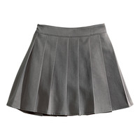 H&M - Pleated Skirt - Dark gray - Kids