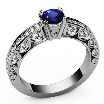 Unique Ring Engagement Ring Diamond Ring Blue Sapphire Bella channel-set pavé half moon trellis crafted in 18K Yellow or 18K White gold