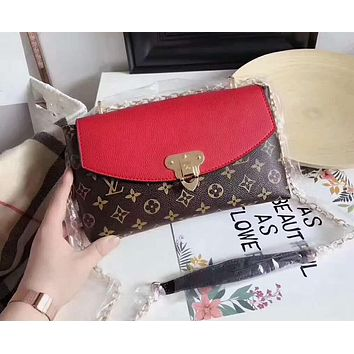 LV Fashion Women Shopping Monogram Leather Crossbody Satchel Shoulder Bag Red I-AGG-CZDL
