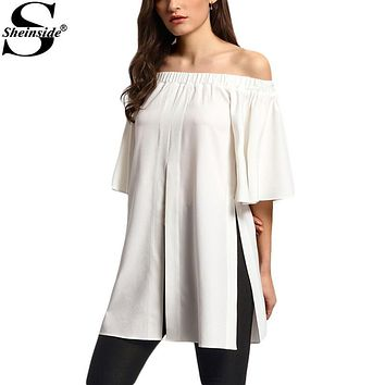 Sheinside Off The Shoulder Split Blouses Summer Style New Sexy Tops Women Cute Casual Shirts 2016 Ladies Short Sleeve Blouse