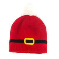 Red Contrast Bobble Beanie Hat Of Knitted Set