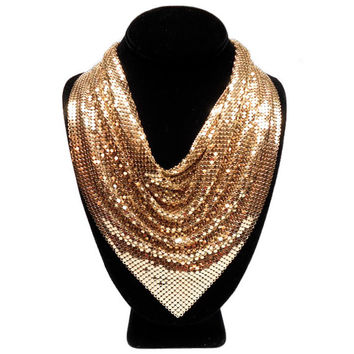 vintage 1970s WHITING & DAVIS mesh necklace / gold / metal metallic / oromesh / bib necklace / disco Studio 54 / vintage jewelry