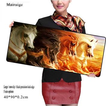 Mairuige Animals horse Free Shipping  900*400*2 Mouse Pad pad Overlock Edge Big Gaming mouse Pad Send Boy Friend the Best Gift