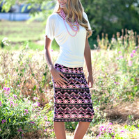 Marion Pencil Skirt - Pink Aztec