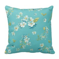 teal,peacock,white cherry,blossom,pattern,trendy, throw pillow