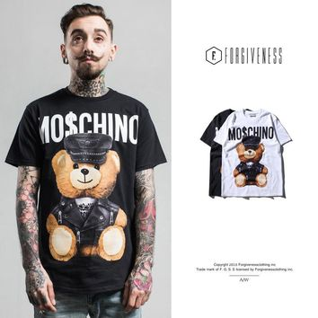 tide brand summer fashion leather bear new toy cotton casual short-sleeved men T shirt forgiveness