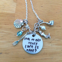 Look at this stuff Isn't it neat Ariel Little Mermaid Inspired Quote Charm Necklace