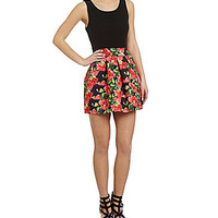 As U Wish Floral-Print Bandage Skirt Dress - Coral/Black