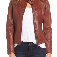 Mauritius Leather Lambskin Leather Moto Jacket | Nordstrom