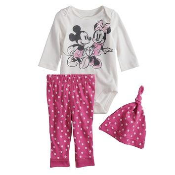 Disney's Mickey & Minnie Mouse Baby Girl Graphic Bodysuit, Polka-Dot Pants & Hat Set by Jumping Beans®