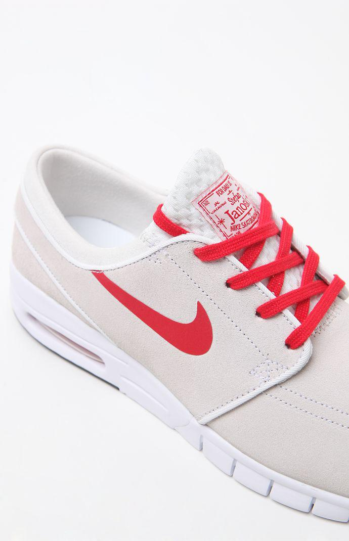Nike SB Janoski Max Leather Shoes - Mens Shoes - White Red 79459ee3c4