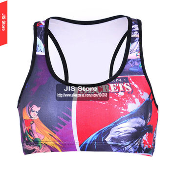High Intensity 3D Print Super Hero Cartoon Strapless Sports Bra Shakeproof Padded Crop Tops Summer Quality Slimming Vest