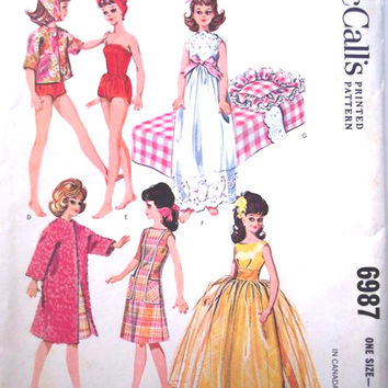 "McCall's 6987 Sewing Pattern Retro 60s Tammy Suzy 12"" Doll Wardrobe Clothes Bathing Suit Coat Dress Ball Gown Uncut Barbie"