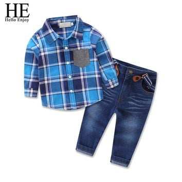 Children clothing Long sleeve plaid shirt+straps jeans autumn winter fashion kids clothes boys tracksuits