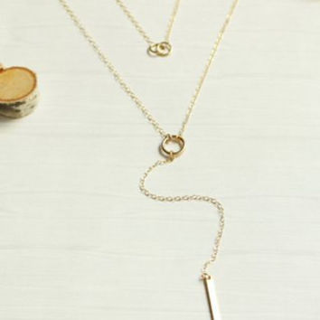 Bar Solid Color Layered Lariat Necklace