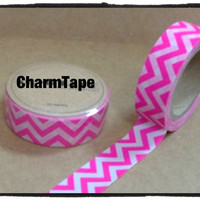 Washi tape - neon pink Chevron Zigzag - 15mm Wide - 11 yards  WT425