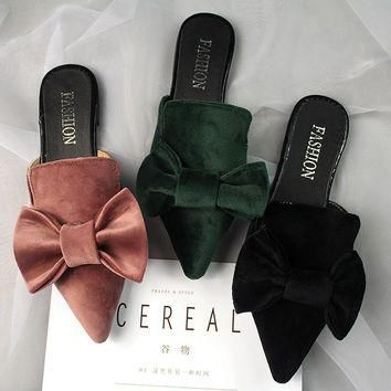 big velvet bow sandals women pointed toe slippers 2017 brand designer bowtie mules lad