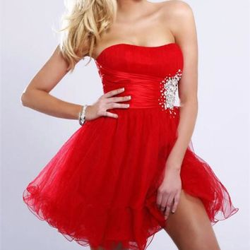 Soiree Organza New Arrival Robe De 2017  Red Blue Beading Sweetheart Mini Cocktail short prom Dresses Party dress