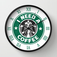 I need a coffee! Wall Clock by John Medbury (LAZY J Studios)