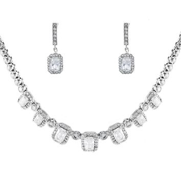 Carmella Emerald Cut CZ Necklace Set
