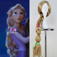 New Movie Tangled Princess Rapunzel Wig Extra Long Blonde Braid Synthetic Anime Cosplay Wig + Free wig cap