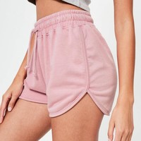 Missguided - Purple Washed Runner Shorts
