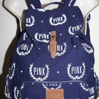New VICTORIA SECRET PINK Navy Crest  Backpack, Beach Bag .Yoga,Gym,School,Beach