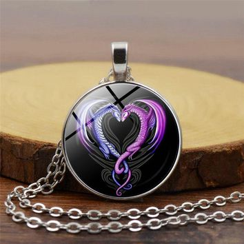 Charms Anime Necklace Vintage Dragon Necklaces & Pendants Heart Glass Cabochon Statement Necklace Jewelry for Women