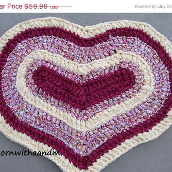 ENTIRE SHOP on SALE Love me pink and yellow crocheted heart shape rag rug, eco friendly, washable, bath mat, durable, pastel, girls bedroom,