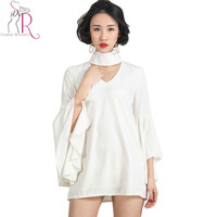 Women Dress White Ruffled Three Quarter Bell Sleeve Shift Loose V Neck Halter Back Cut out Collar 2017 Fall Fashion