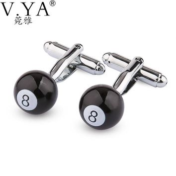 Billiards Round CuffLinks for Shirts Cuff links Exquisite Button High Quality Copper 1 Pair New Fashion Cuff-links XK24